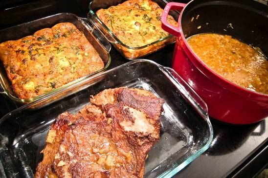 ... : Rhubarb Braised Brisket and Frittata with Chard, Sausage and Feta