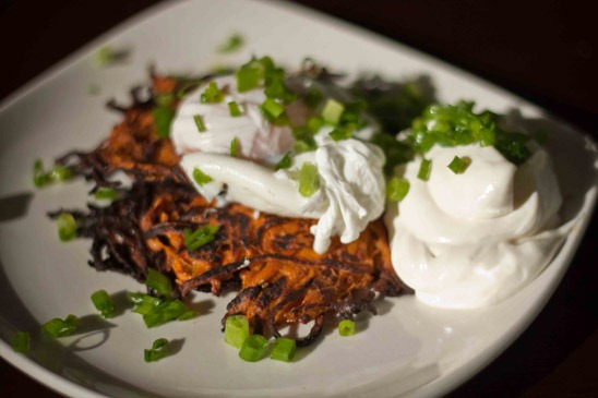 x4) Sweet potato cakes with poached egg (x3) Soft-boiled eggs with a ...