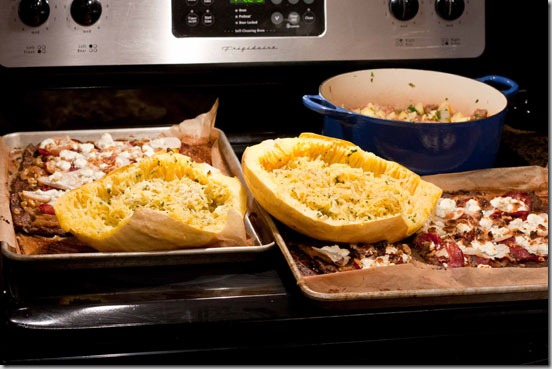 Batch-Cooking-Meatza,-Spaghetti-Squash,-and-Lamb-Stew