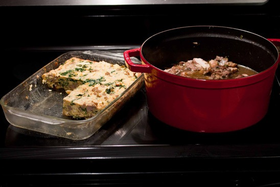 ... Cooking: Coq au Vin and Frittata Bites with Chard, Sausage, and Feta